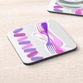 MACARONS & stylish FORKS Beverage Coaster