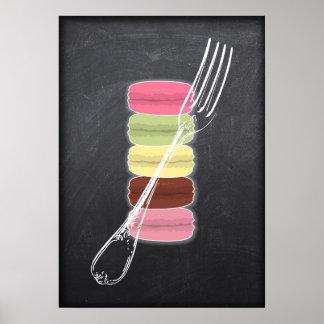 MACARONS & stylish FORKS on chalkboard Poster