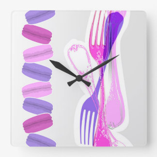MACARONS & stylish FORKS Square Wall Clock