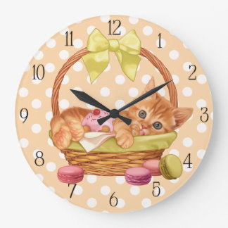 Macaroon and cupcake kitten large clock