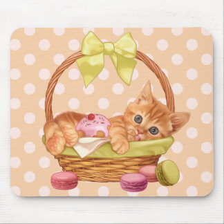 Macaroon and cupcake kitten mouse pad