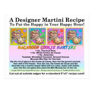 Macaroon Cookie Martini Recipe Card Postcard