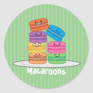 Macaroon Macaroons Happy Foods stacked up Macaron Classic Round Sticker