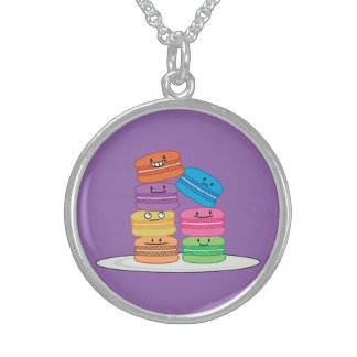 Macaroon Macaroons Happy Foods stacked up Macaron Sterling Silver Necklace