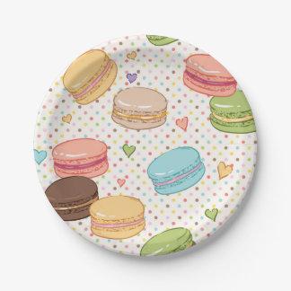 Macaroon,multi colour,polka dot,hearts,pattern,fun 7 inch paper plate