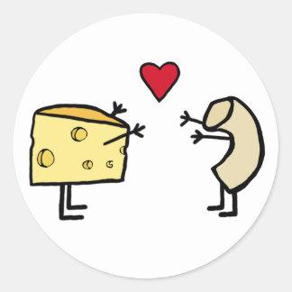 Macarrones con queso pegatina redonda