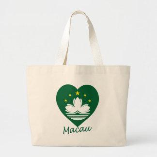 Macau Flag Heart Canvas Bag