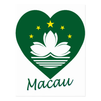 Macau Flag Heart Postcard