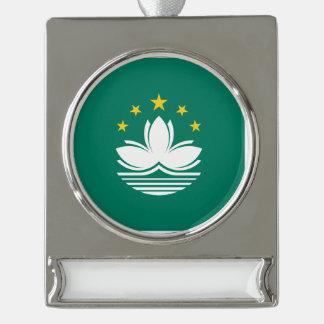 Macau Flag Silver Plated Banner Ornament