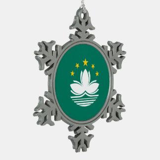Macau Flag Snowflake Pewter Christmas Ornament