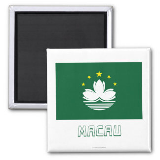 Macau Flag with Name Fridge Magnets