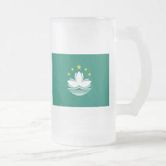 macau 16 oz frosted glass beer mug