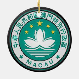 Macau Round Emblem Ceramic Ornament
