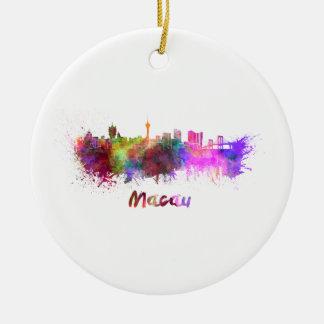 Macau skyline in watercolor ceramic ornament