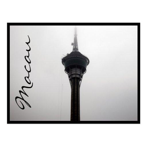 macau tower top grey postcards