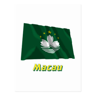 Macau Waving Flag with Name Postcard