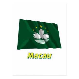 Macau Waving Flag with Name Postcard