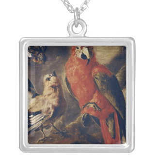 Macaw and Bullfinch Square Pendant Necklace