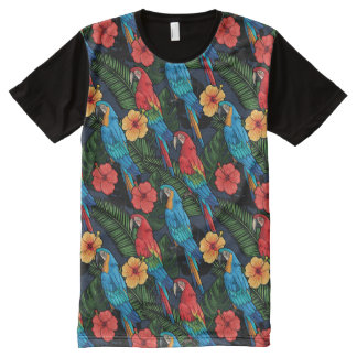 Macaw And Hibiscus Pattern All-Over-Print T-Shirt