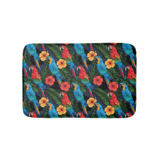 Macaw And Hibiscus Pattern Bath Mat