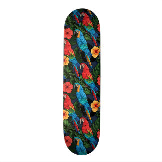 Macaw And Hibiscus Pattern Skateboard Deck