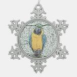 macaw azul del oro en acuarela de la perca adorno
