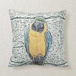 macaw azul del oro en acuarela de la perca almohadas