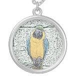 macaw azul del oro en acuarela de la perca pendientes
