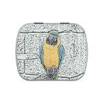 macaw azul del oro en acuarela de la perca latas de dulces
