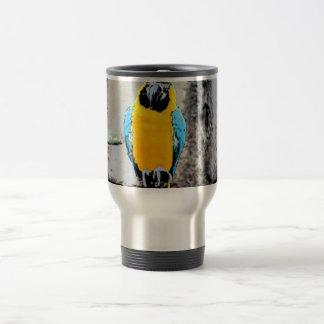 macaw azul del oro en loro del paintery de la taza de viaje de acero inoxidable