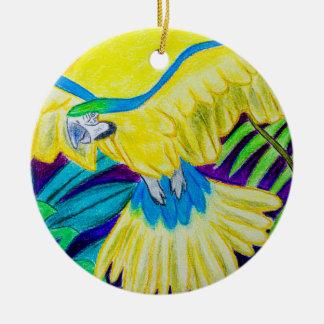 Macaw azul y amarillo lápiz coloreado tropical