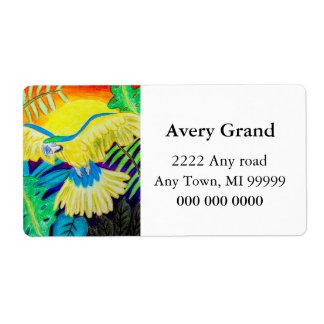 Macaw azul y amarillo, lápiz coloreado tropical etiquetas de envío