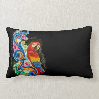 macaw color black lumbar pillow