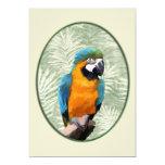 Macaw del azul y del oro con el fondo de la selva invitación 12,7 x 17,8 cm