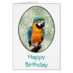 Macaw del azul y del oro con el fondo de la selva tarjeta