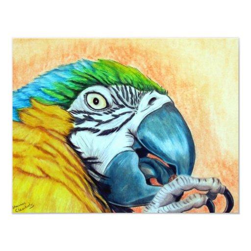 Macaw del azul y del oro invitación 10,8 x 13,9 cm