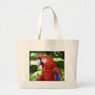 Macaw del escarlata bolsa tela grande