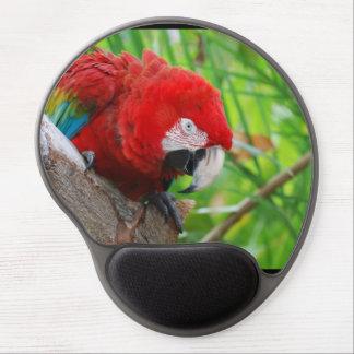 Macaw del escarlata con un pico agudo alfombrilla de raton con gel