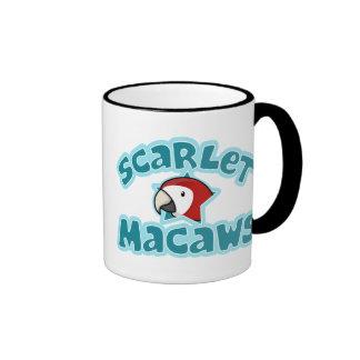 Macaw del escarlata de Kawaii Tazas