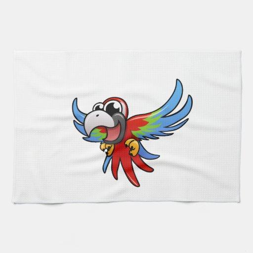Macaw del escarlata del dibujo animado toallas de mano