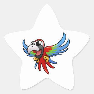 Macaw del escarlata del dibujo animado etiqueta