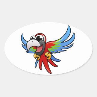 Macaw del escarlata del dibujo animado pegatina ovalada