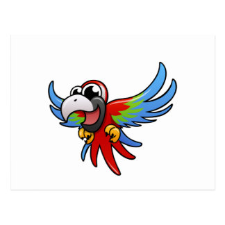 Macaw del escarlata del dibujo animado postales