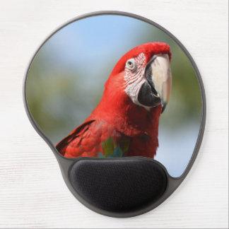 Macaw del rojo del escarlata alfombrillas de ratón con gel