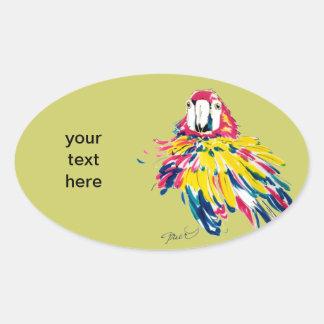 Macaw divertido pegatina ovalada