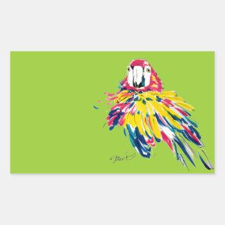 Macaw divertido pegatina rectangular
