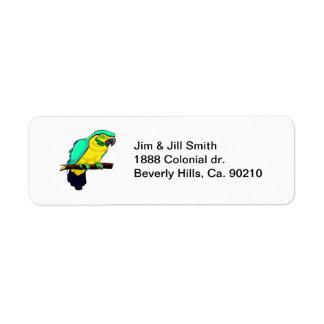 Macaw en rama etiqueta de remite