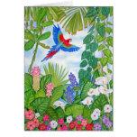 Macaw en vuelo felicitación