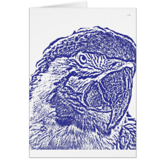macaw head view graphic blue outline parrot card