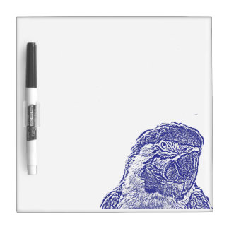 macaw head view graphic blue outline parrot Dry-Erase board